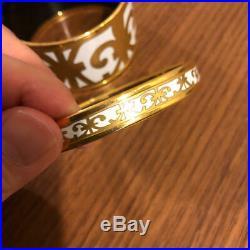 100% Authentic HERMES Bangle Bracelet Enamel Cloisonne GOLD SET of 2 WIDE