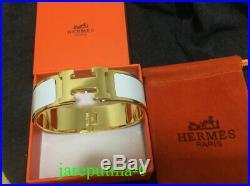 100% Authentic Hermes Clic Clac H PM Wide Bangle Bracelet White Enamel Gold