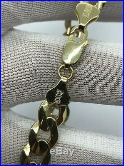 10KT Yellow Solid Gold Mens Curb Bracelet 9/ 9MM Wide