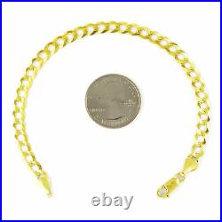 10K REAL Yellow Gold 6.5MM WIDE Mens Italian Cuban Curb Link Chain Bracelet 8.5