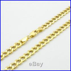 10K REAL Yellow Gold 6.5MM Womens Wide Cuban Curb Link Chain Bracelet 7in 7
