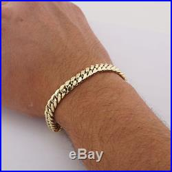 10K Real Yellow Gold 7.5mm Wide Miami Cuban Link Hand Made Men's Bracelet 9