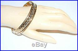 10K Solid Yellow Gold Bangle Greek Key Pattern 11mm Wide 8 Inch Wrist Bracelet