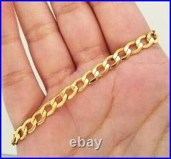 10K Solid Yellow Gold Cuban Link Bracelet Anklet 9 Inches Womens Mens 5.4MM Wide