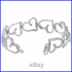 10K White Gold Round Diamond Bracelet 14.50mm Wide Heart Shape Link 7 1/8 Ct