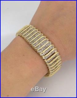 10K YELLOW GOLD 4.00ct ROUND DIAMOND WIDE S LINK TENNIS BRACELET 6 3/4 17mm