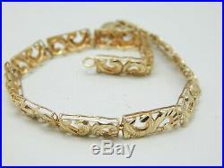 10K YELLOW GOLD DIAMOND CUT PANEL BRACELET 7.75 6mm WIDE- 6 GRAMS