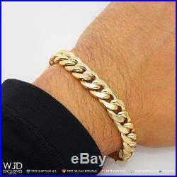 10K Yellow Gold 11mm Wide Miami Cuban Link Box Clasp Lock Men's Bracelet 9