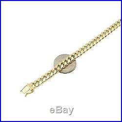 10K Yellow Gold 7.5mm Wide Miami Cuban Link Men's Bracelet Box Clasp 8.5