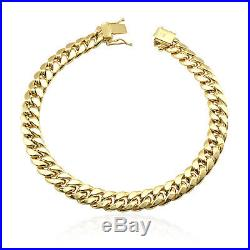 10K Yellow Gold 7.5mm Wide Miami Cuban Link Men's Bracelet Box Clasp 8.5 9