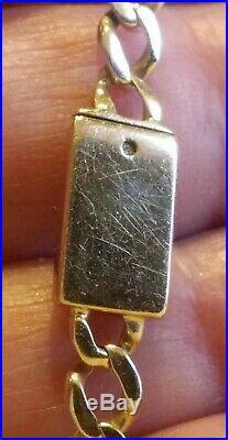 10K Yellow Gold Figaro ID Kid's Bracelet 7mm wide -6 1/4 long (C43)