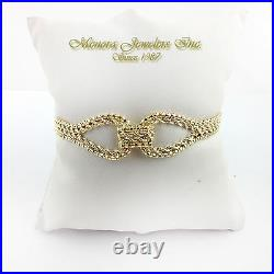 10K Yellow Gold Rope Chain Bracelet BOW 7 1/2 3/4 wide R17 08 62