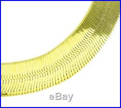 10K Yellow Gold Solid Herringbone Bracelet 7 inch 4mm wide Lobster Claw Clasp