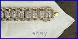 10 ct Round Sim Diamond Men's Wide Link Bracelets 14K White Gold Plated Silver
