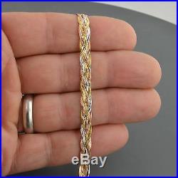 10k Gold 5.7mm Wide Tri Color 5 Strand Braided 7.5 Inch Herringbone Bracelet