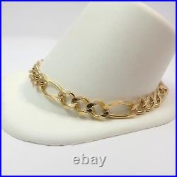 10k Gold Wide Figaro Link Chain Mens Bracelet Unisex Anklet 9in 10 grams
