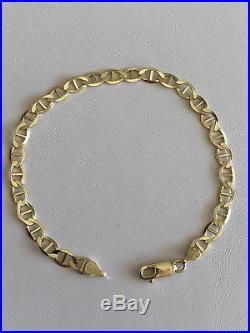 10k Solid Yellow Gold 5.5mm Wide Mariner Anchor Link Men's Bracelet 8'' 4.6g