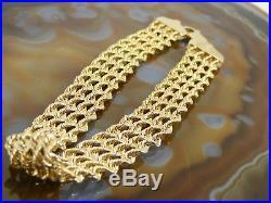 10k Vintage Yellow Gold Four Multi Strand ROPE BRACELET 7 x 7/16 Wide Estate