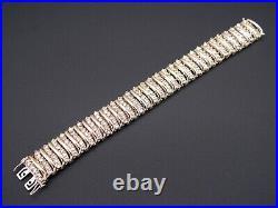 10k Yellow Gold 14ct Round Cut Diamond Tennis 19mm Wide Link Bracelet 7 inch