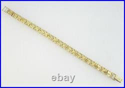 10k Yellow Gold 7mm Wide Mens Nugget Link Bracelet 14g 7.5 inch