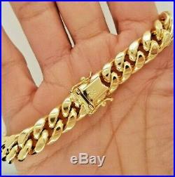 10k Yellow Gold 9.5 mm Wide Miami Cuban Bracelet 8 Inches Men