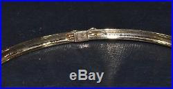 10k Yellow Gold Textured 3mm Wide 7 1/4 Bangle Bracelet 3.2 gms