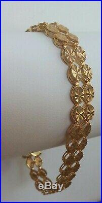 11.6 Gram 14k Solid Yellow Gold 7 1/4 Long X 9 MM Wide Fancy Link Bracelet