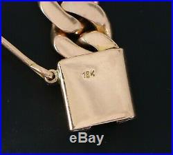 $12,000 Men's 18K Solid Rose Gold 10mm wide Large Cuban Link Chain Bracelet 7.5