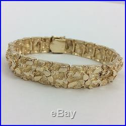 13mm Wide 57.6 Grams Nugget Bracelet 14k Yellow Gold 7.75