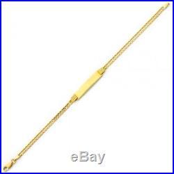 14KT Solid Yellow Italian Gold Curb Women's/Men's/Unisex ID Bracelet 3mm Wide