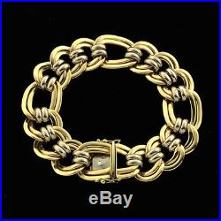 14K Classic Weighty Wide Polished Double Locked Curb Oval Links Soft Bracelet