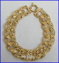 14K GOLD DIAMOND CUT 16mm WIDE OPEN LINK 7 3/4 BRACELET