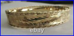 14K Gold Bangle Bracelet 18.0 Grams 11 MM Wide Fits 7 Wrist