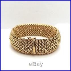 14K Gold Italy UnoAerre Wide Mesh Weave Link Soft Bangle 7.5 Bracelet 40 grams