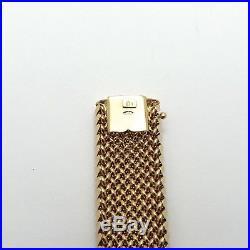 14K Gold Italy Unoaerre 7/8 Wide Mesh Link Soft Bangle 7.5 Bracelet 40 grams