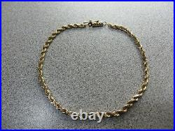 14K Gold Rope Chain Bracelet 8 MICHAEL ANTHONY 6.6 Grams 3 mm Wide
