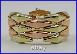 14K HEAVY Yellow & Rose Gold Retro Wide Lozenge Kite Link Statement Bracelet 7