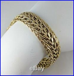 14K ITALY Yellow Gold 1/2 Wide Fancy Link Chain 7.5 Bracelet 11.14gm