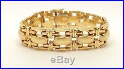 14K Italian Yellow Gold Bracelet Wide Link Bracelet Vintage 7 3/16 32.6g Unisex