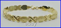 14K Real Yellow Gold Hugs & Kisses Bracelet 5.1 gram 7mm. Wide