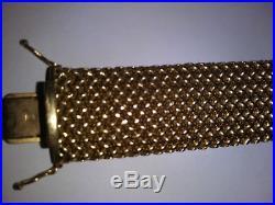14K Solid Gold 7.5in. Italian Basket Weave Wide Heavy Bracelet 20mm 41.1Gr