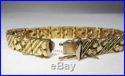14K Solid Gold Wide Nugget Style Mens Bracelet 27.9 Grams C1848