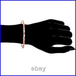 14K Solid Pink Rose Gold Tubular Stackable Bangle Bracelet 8 2.2mm wide