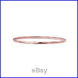 14K Solid Pink Rose Gold Tubular Stackable Bangle Bracelet 8 2mm wide