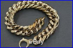 14K Solid Yellow Gold 11.5MM Wide Thick Link Chain Fancy Bracelet! (#051086)