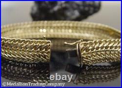 14K Solid Yellow Gold 1/2 inch Wide Infinity Link Mesh Bracelet 7.5 13.7 gram