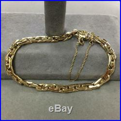 14K Solid Yellow Gold 4mm Wide Oblong Interlocking Link Bracelet (6.6g) 7.25