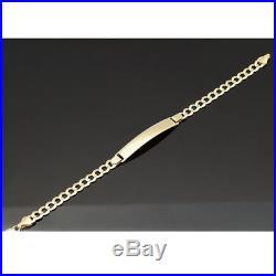 14K Solid Yellow Gold 5.7mm Wide Link Men's Cuban Curb Link I. D. Bracelet 8