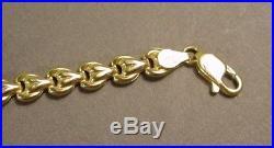 14K Solid Yellow Gold 6mm Wide Designer Milor Link Bracelet 7 1/4Free Shipping