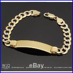 14K Solid Yellow Gold Diamond Cut 10mm wide Cuban Curb Link Id Men's Bracelet 8